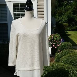 Coco Bianco Top with Shiny Silver Thread Size Med